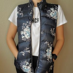LOFT Floral zip up puffer vest dark gray l S